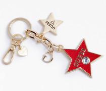 Schlüsselanhänger 'Charm Stern' gold / rot