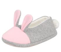 Hausschuh 'Bunny' grau / rosa / weiß