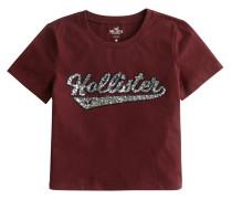 T-Shirt 'sequin Logo Baby Tee' burgunder