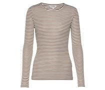 Shirt 'Lilita' braun / weiß