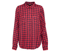 Bluse 'fitted Check' rot / schwarz