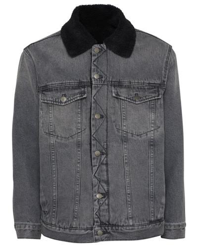 Jeans Jacke 'sherpa Trucker- Black TOP Rigid'