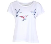 T-Shirt Birds blau / rot / weiß