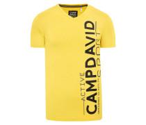 T-Shirt mit V-Neck und Dull Print gelb