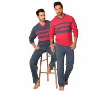 Pyjamas lang basaltgrau / rot