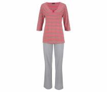 Pyjama graumeliert / koralle