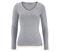 V-Ausschnitt-Pullover 'Kontrast Details' grau