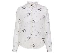 Bluse anthrazit / weiß