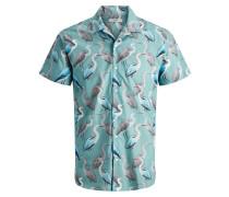 Bowlingkragen Vogelprint Kurzarmhemd