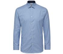 Slim-Fit-Langarmhemd blau / weiß