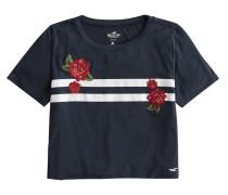 T-Shirt 'crop Easy Tee' navy / weiß