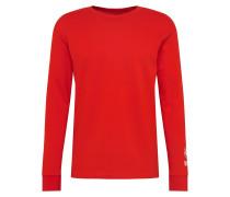 Shirt 'LS Print' rot / weiß