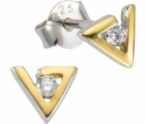 Paar Ohrstecker »Dreieck« gold / silber