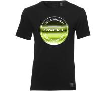 T-Shirt 'filler' neongrün / schwarz