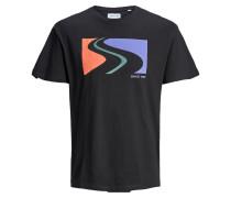 T-Shirt flieder / koralle / schwarz