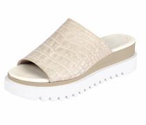 Pantolette mit Plateau-Sohle beige / weiß