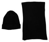 Schal und Mütze schwarz