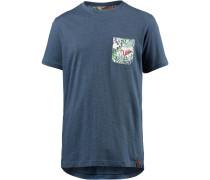 Printshirt blue denim