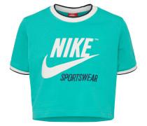 T-Shirt türkis / dunkelblau / weiß
