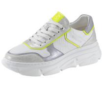 Sneaker weiß / silber / neongelb