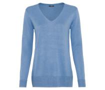 Long-Pullover mit Lurexgarn blau
