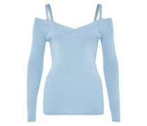 Lurex-Pullover mit Schulterträgern blau