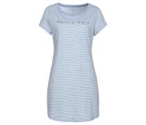 Sleepshirt 'Henley' hellblau / weiß