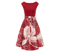Kleid rosé / blutrot / rubinrot / wollweiß