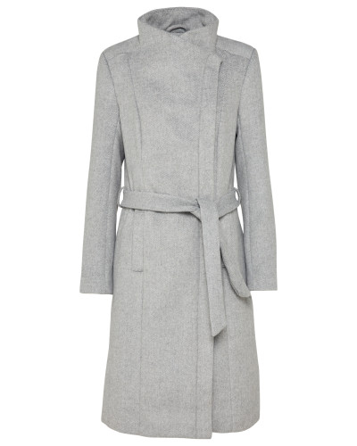 Langer Woll-Mantel grau