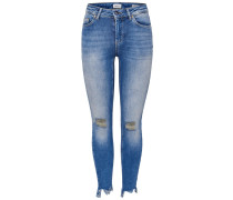 Blush mid ank destr hem Jeans blau