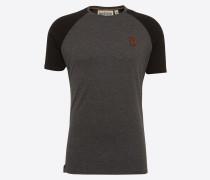 T-Shirt 'Dachrinne' graumeliert / schwarz