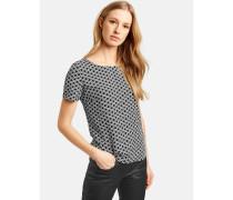 Bluse Kurzarm Blusenshirt mit Allover-Print