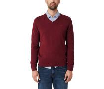Pullover mit V-Ausschnitt weinrot