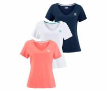 T-Shirt dunkelblau / koralle / weiß