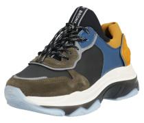 Sneaker Low 'Baisley' blau / khaki / schwarz