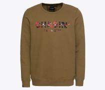Sweatshirt 'low' braun / khaki / rot