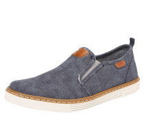 Slipper in Jeans-Optik navy / braun / weiß