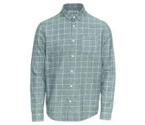 Hemd 'grid Shirt' smaragd / weiß