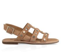 Zariah Studded Bling Sandalen aus Veloursleder in Latte