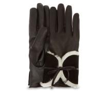 Combo Sheepskin Trim Handschuhe Damen Black M