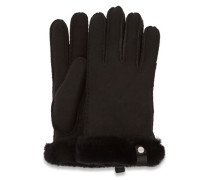 Shorty Leather Trim Handschuhe Damen Black M