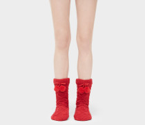Pom Pom Fleece Lined Crew Socken Stiefel in Poppy Red