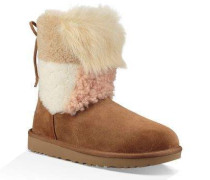 Classic Short Patchwork Fluff Boot Damen Chestnut