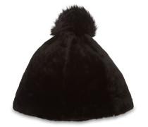 Solid Sheepskin Mütze Damen Black L/XL