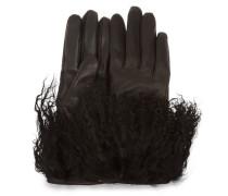 Leather Mongolian Handschuhe Damen Black