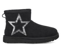 Classic Mini Star Stiefel aus Veloursleder in Schwarz