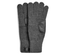 Strickhandschuhe mit Lederpatch für Herren in Charcoal