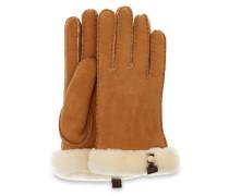 Shorty Leather Trim Handschuhe Damen Chestnut M