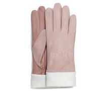 Knit Cuff Leather Logo Handschuhe für Daen aus Leder in Pink Crystal