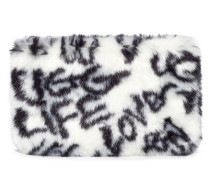 Faux Fur Small Zip Clutch Graffiti  B/W